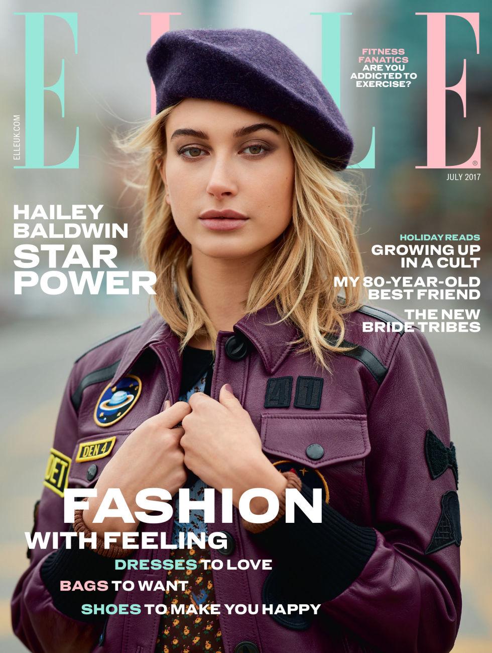hailey baldwin covers elle uk july 2017